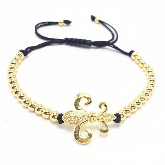 Anil Men Bracelets Gold Plated Beaded Micro Inlay Zircon CZ fleur-de-lis Braided Macrame European American Weaving Bracelets