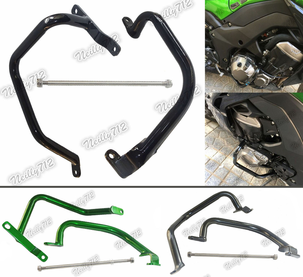 waase Engine Bumper Guard Crash Bars Protector Steel For KAWASAKI Z1000 ZRT00D ZRT00F 2010 2011 2012 2013 2014 2015 2016 high quality for bmw r1200gs 2013 2014 2015 motorcycle upper engine guard highway crash bar protector silver