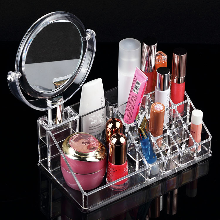 Divided cosmetic container makeup brush stand mirror acrylic decorative  trays kozmetik tepsiler nampan kosmetik-in Storage Boxes & Bins from Home &  Garden ...