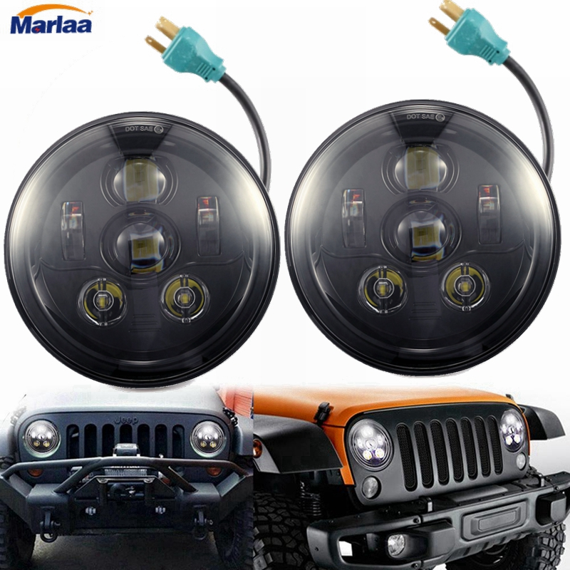 LED Headlights 7 Inch DRL Sealed Beam Bulb H5024 5024 6012 6014 6015 H6017 H6024 Conversion Kit for Jeep Wrangler Toyota FJ
