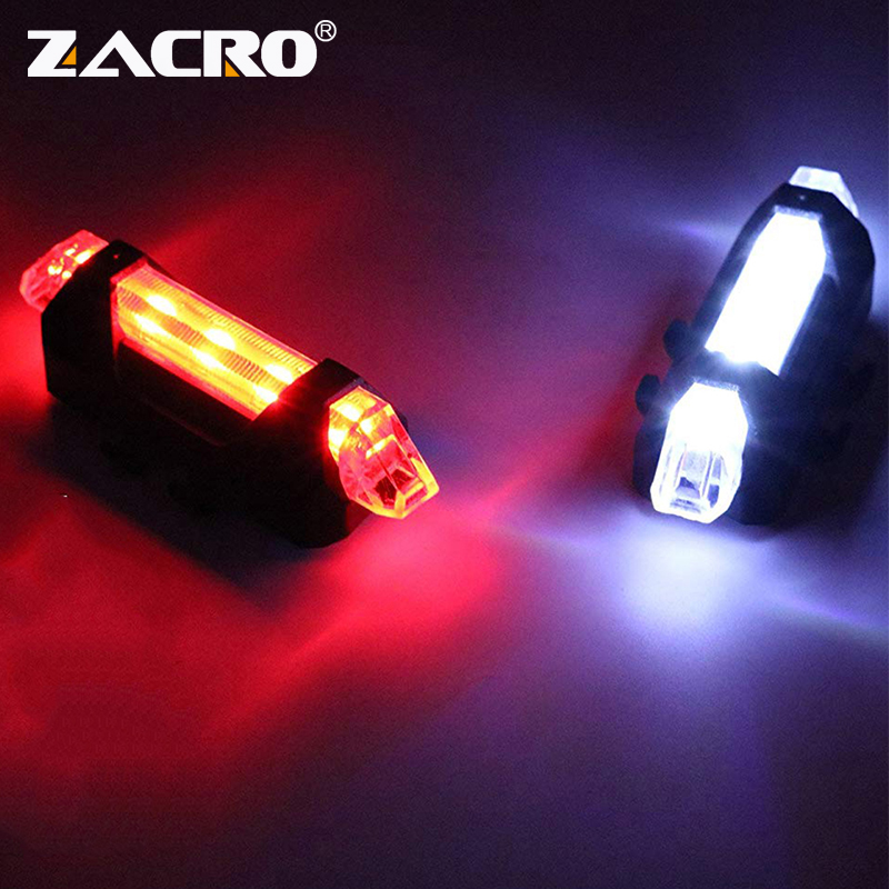 Zacro Bicycle-Light Bike Battery-Style LED Tail-Safety-Warning Rear Rechargeable Or