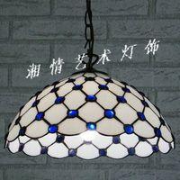 Синий зеленый кристалл Тиффани Сад домашняя кухня из натуральной лампа стекло настольная лампа китайский простой современный люстра
