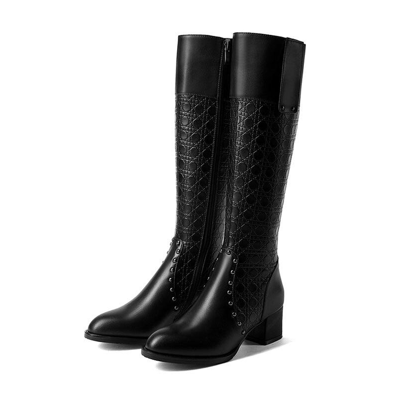 Long Botas D'hiver Femmes Black Véritable Top Trajet Cuir Rivet En Beau Bottes Talons Fanyuan Haute Chaussures Punk Chelsea Genou e9EW2HDIY