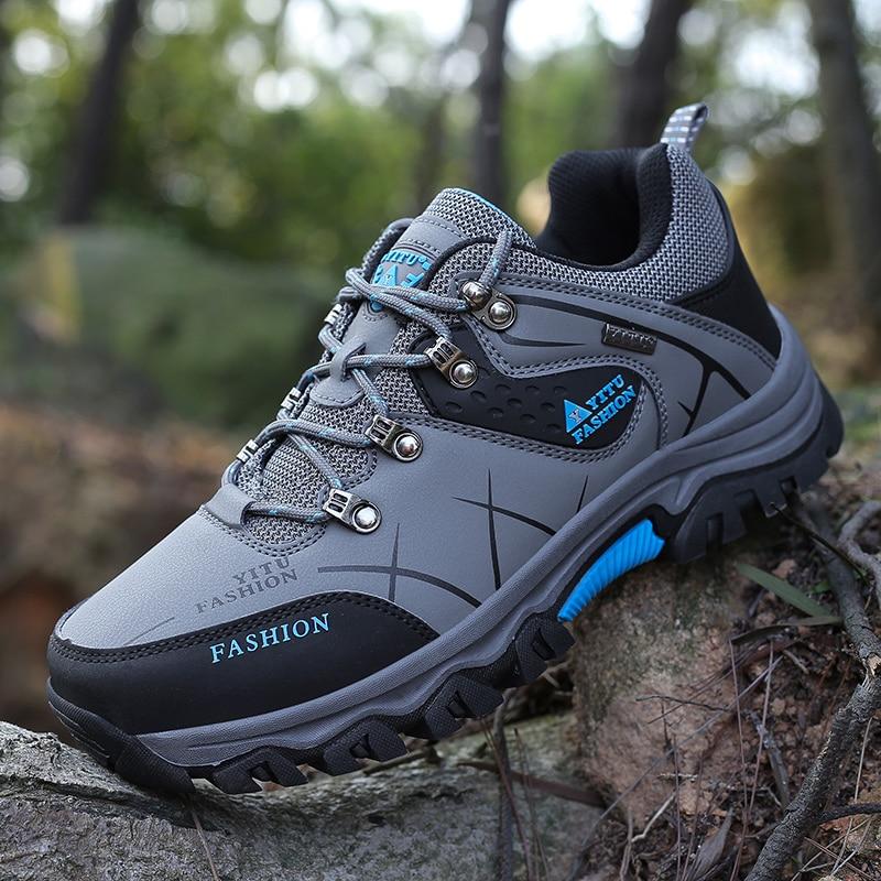 Mannen Big Size Trail Wandelschoenen Waterdicht Leer Ademend Outdoor Sneakers Voor Mannen Jacht Trekking Klimmen Bergschoenen