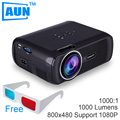 AUN 1000 Lmens 3D Projetor + 2 Pcs Óculos 3D LEVOU Projetor Suporte 1080 P Home Cinema Vidéoprojecteur de Contraste de 1000:1 U80XG9