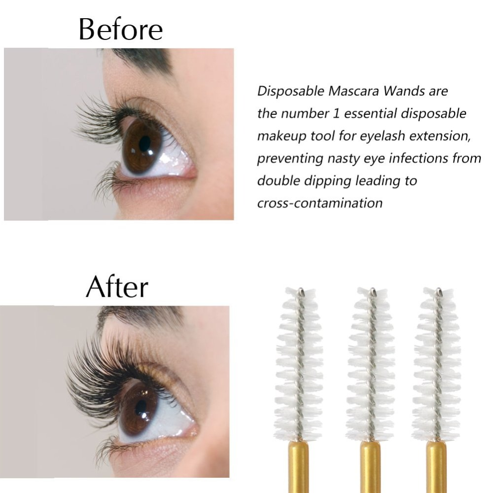 Image 5 - 1000pcs/lot Gold Stick Disposable Mascara Wands Applicator Lash Nylon Makeup Brushes Eyelash Extension Makeup AccessoricesEye Shadow Applicator   -