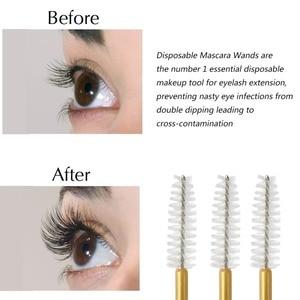 Image 5 - 1000pcs/lot Gold Stick Disposable Mascara Wands Applicator Lash Nylon Makeup Brushes Eyelash Extension Makeup Accessorices