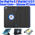 10X Smart Cover + Silicone Hard Case For iPad Pro 9.7 Air2 4/3/2 Kids Safe Armor Shockproof Heavy Duty + Screen Protector I613