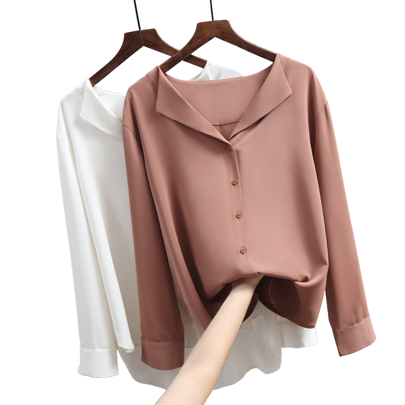 07e9835cea10bc 2018 autumn new solid women chiffon blouse office lady v-neck button loose  casual solid female shirts outwear tops - KHAETHRIYA