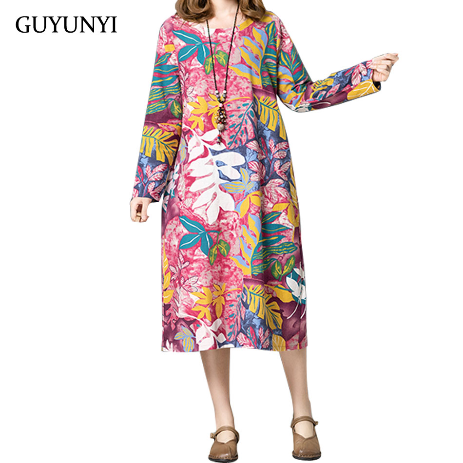 Women's Clothing Precise Guyunyi 2018 Autumn New Cotton And Linen Large Size Flower Print Dress Round Neck Long Sleeve Casual Loose Retro Dress Cx1055