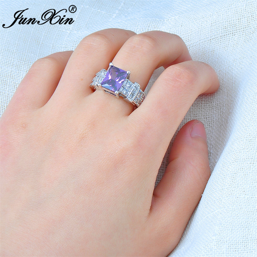 JUNXIN Male Female Big Purple Geometric Ring Crystal White Gold ...