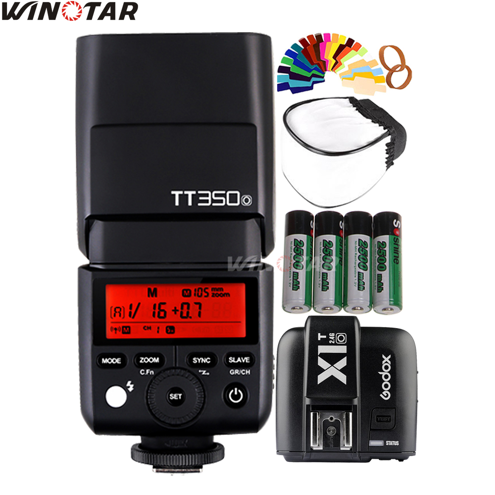 Godox TT350O 2.4G HSS 1/8000s TTL GN36 Mini Flash Speedlite + X1T-O Trigger + 4x 2500mAh Battery for Olympus / Panasonic CanerasGodox TT350O 2.4G HSS 1/8000s TTL GN36 Mini Flash Speedlite + X1T-O Trigger + 4x 2500mAh Battery for Olympus / Panasonic Caneras