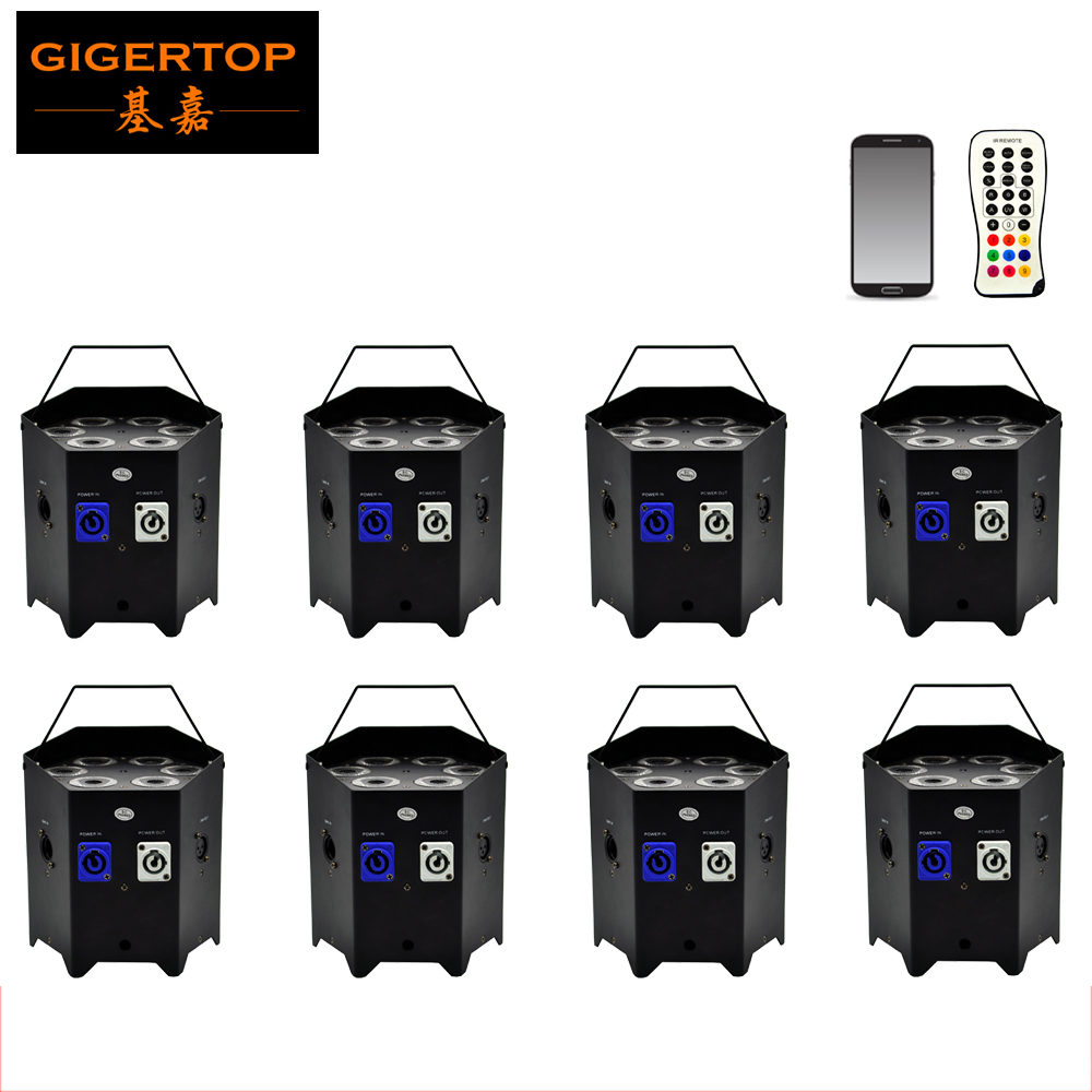 Freeshipping 8 Unit 6x6W RGBWA+UV LED Battery Operated Uplighting Wireless DMX Par Light Wedding Up Lights iOS & Android Control freeshipping irc 9x18w rgbwa uv 6in1 battery wireless led par light 165w full color display screen infrared wireless controller