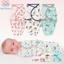 Herbabe 2pcs/set Baby Swaddle Wrap With Hat Cotton Infant Newborn Thin Sleeping Bags Sleepsacks Summer Swaddling Blankets