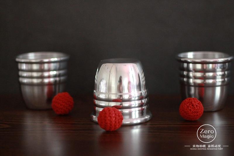 Super Professional Aluminum Three Cups And Balls With Chop Cup,Gimmick Props,(Large) Magic Tricks Magician Close Up Illusion