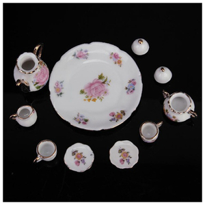 Image 2 - 8pcs בית בובות מיניאטורות כלי אוכל פורצלן תה סט צלחת כוס צלחת ורוד עלה