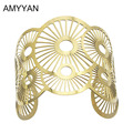 AMYYAN Western style Wild Cuff Bangles With PVD gold plated Crossed Metal Romantic Bracelets & Bangles For Women Big Jewelry BL7