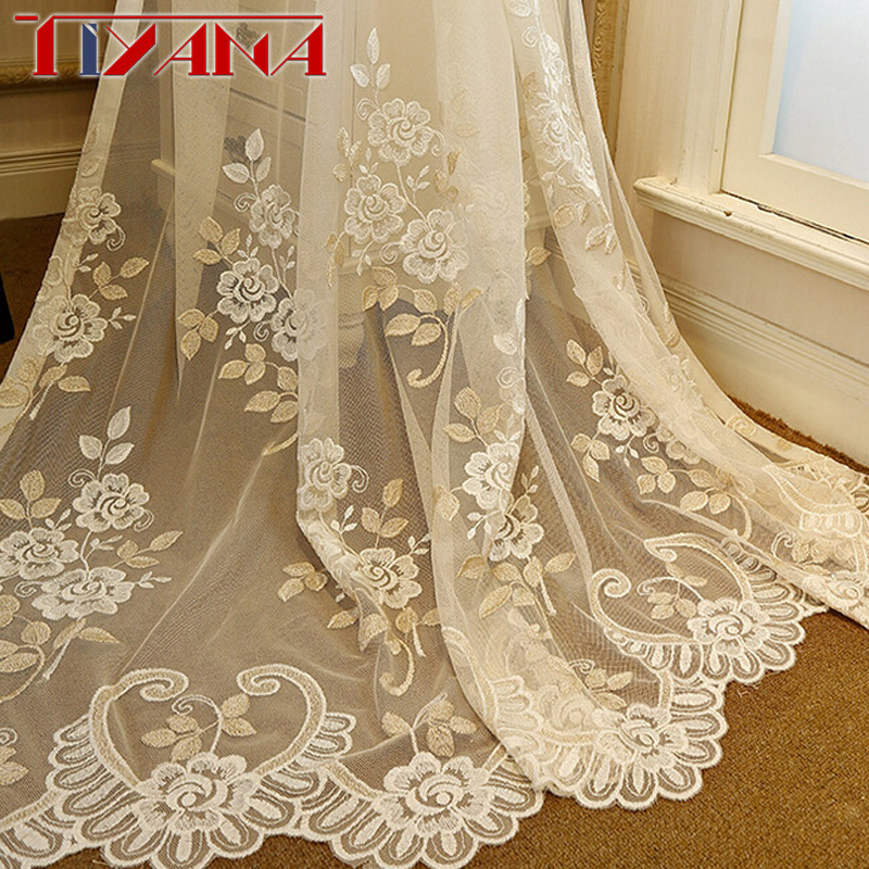 Luxury Floral Embroidered Window Sheer Curtains For Living