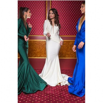 Royal Blue Prom Gown Long Sleeves Robe De Soiree 2018 Vogue Mermaid Formal Dress Custom Made Evening Gowns Elegant V Neck