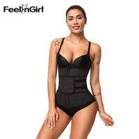 FeelinGirl Latex Women Waist Trainer Firm Plus Size Body Shaper Belly Band Control Waist Corset Slimming Belt Women Underwear E