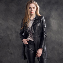 Spring New Arrive Women's Sheepskin Long Trench Coat Genuine Leather Coat Rivet Decoration