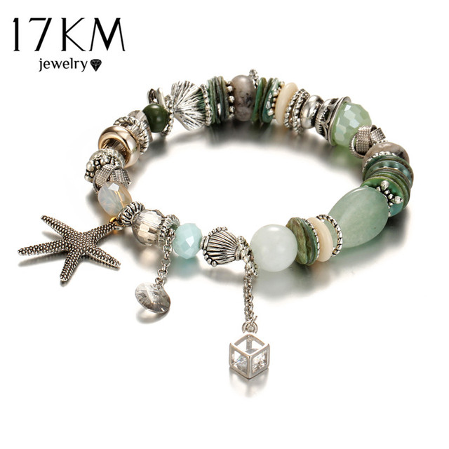 17KM 3 Color Starfish Bracelets For Women Vintage Beads Crystal Stone Ethnic Lover Bracelet Femme New Bohemia Jewelry Wholesale