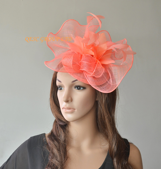 NEW Wholesale Elegant 9 colors Coral pink Big Sinamay fascinator hat for  Melbourne Cup ae2e243c2cf