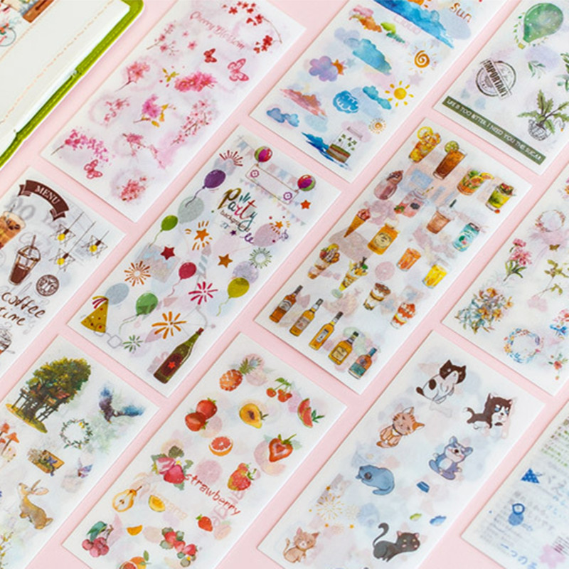 6 Sheets/pack Pink Sakura Forest Travelling Adhesive Stickers Decorative Album Diary Stick Label Paper Decor Stationery Stickers