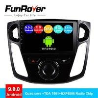 FUNROVER android 9,0 2 din Автомобильный Радио мультимедийный плеер для Ford Focus 2012 2015 Автомобильная dvd навигационная система навигационная система, стер