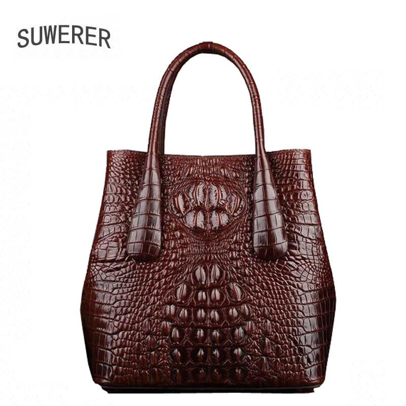 SUWERER Superior cowhide women Genuine Leather bags luxury women bag handbags fashion Crocodile pattern women leather bag
