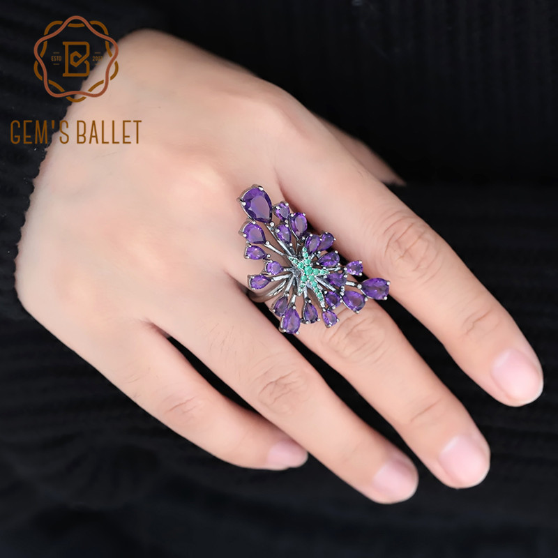 GEM'S BALLET 925 Sterling Sliver Vintage Gothic Green Star Rings 6.18Ct Natural Amethyst Purple Gemstone Cocktail Ring For Women