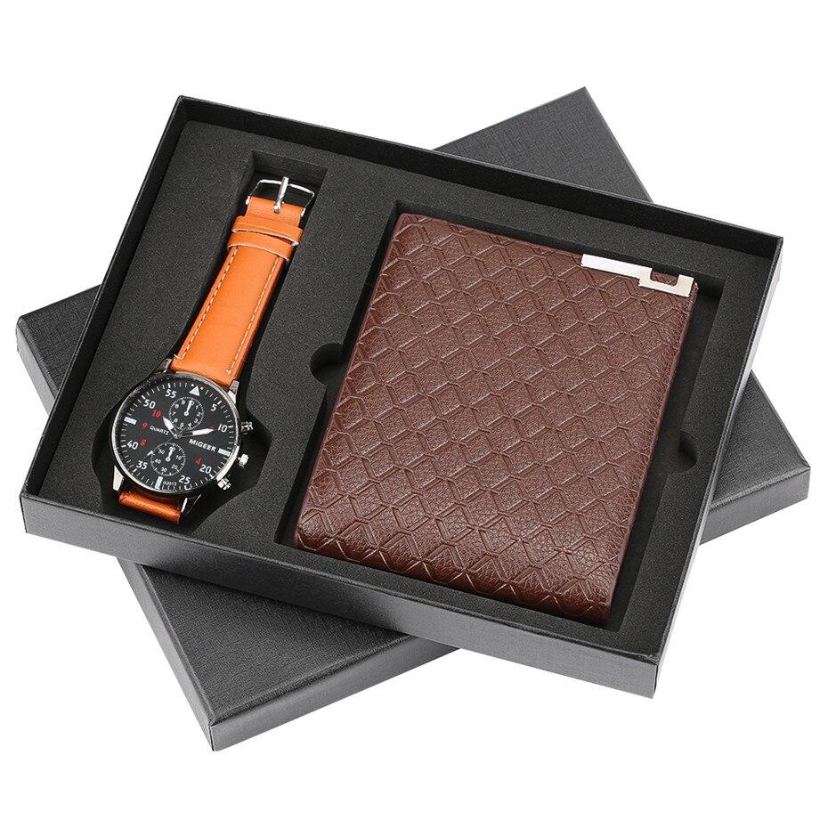 Quartz Wristwatch Leather-Band High-Quality for Boy Boyfriend Gifts Set Reloj Masculino