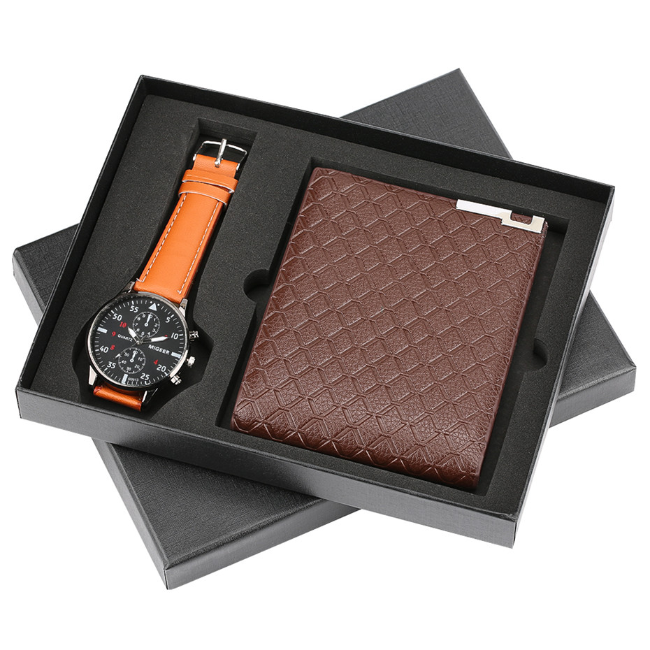 Men's Watch Wallet Gifts Set Box for Men Multifunction Purse Retro Brown Leather Wallet with Coin Pocket Zip Sequin Wallet Clock цена и фото