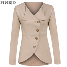 FINEJO Solid Fashion Women Outerwear Coat Jacket Single-breasted Long Sleeve Turn-down Collar Spring Autumn  Women's Clothing