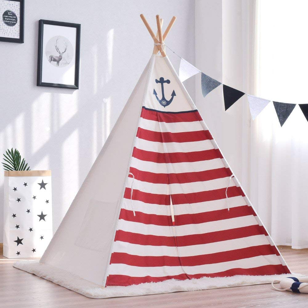 Thick Cotton Canvas Red Striped Kids Play Teepee Tent Tipi Tent hot sale eco friendly tent for kids cotton canvas toys tent