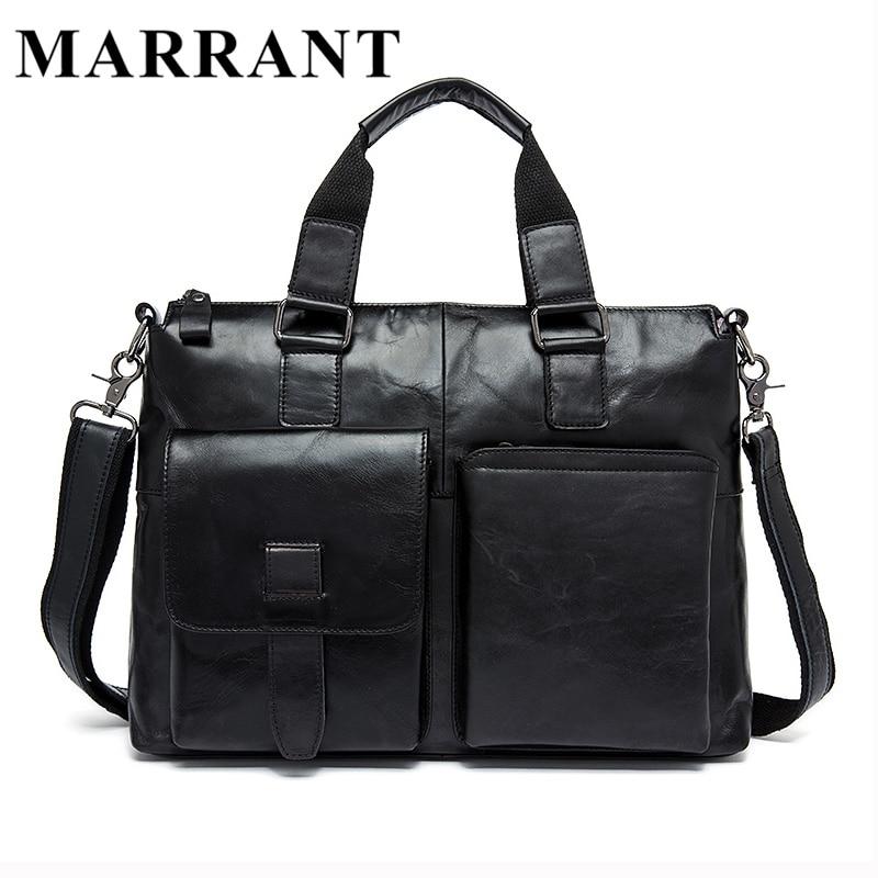 ФОТО MARRANT 100% Genuine Leather Men Bags New Men's Briefcase Business Shoulder Bags Men Travel Bags Fashion Tote Man Messenger 8260