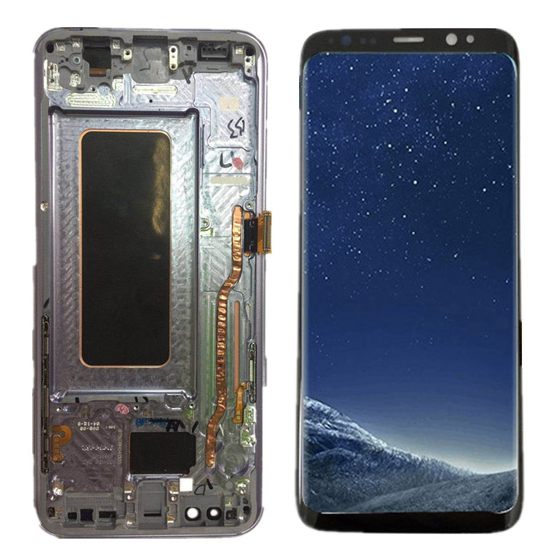 AMOLED S8 LCD With Frame Replacement For SAMSUNG Galaxy S8 G950 G950F Display S8 Plus G955 G955F Touch Screen Digitizer