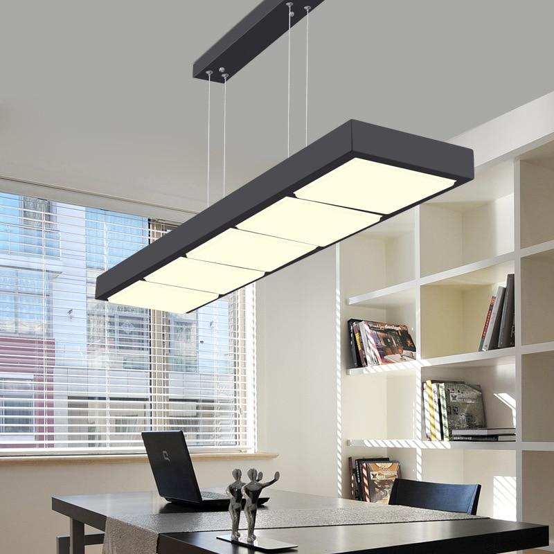 Light Fixtures For Office For Led Pendant Lights Home Lighting Fixtures Lamparas Colgantes Office Rectangular Barnging Lamps White Black Hanglampen