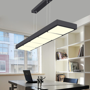 LED Pendant Lights Home Lighting Fixtures lamparas colgantes office rectangular barnging Lamps White Black hanglampen