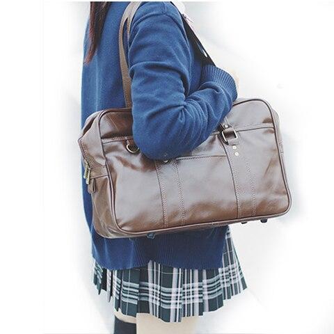 Bolsas de Ombro Japonês Harajuku Bolsa jk Uniforme Cosplay Princesa Lolita Escola pu Bolsa Preta e marrom