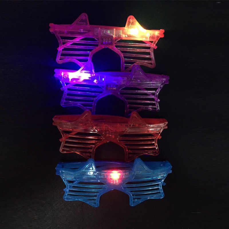 Бесплатная доставка 20 шт./партия светодиодный пять Звездные очки мигающий крутой хип хоп танец диско вечерние новогодние новинки забавные игрушки