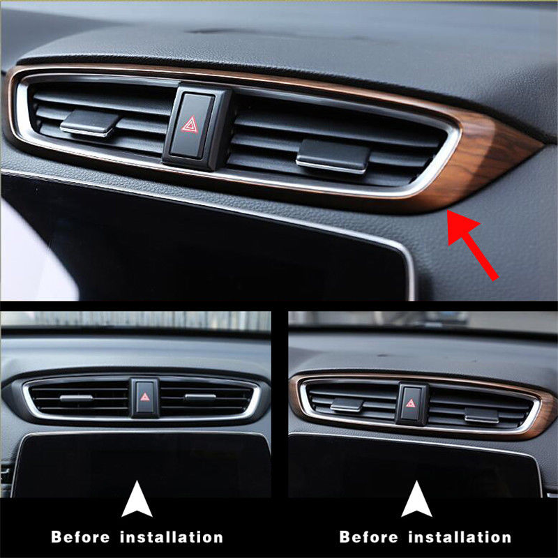 1Pcs Peach Wood Grain Air Vent Outlet Panel Decoration Cover Fit for Honda CRV CR-V 2017 2018 Car Styling Accessories цена