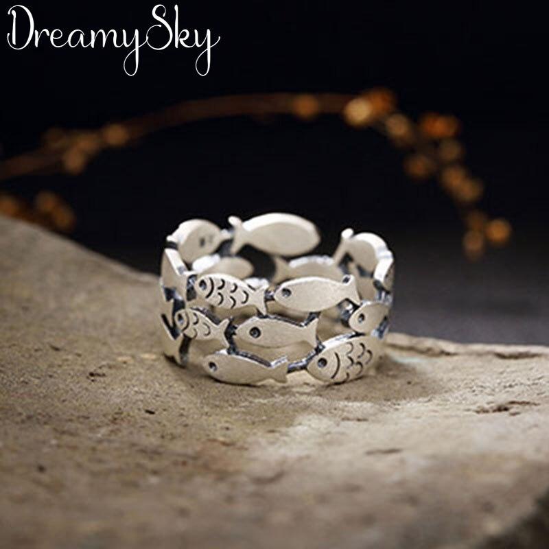 Anillos con forma de pescado de plata de ley 2019 Bijoux 925 para mujer regalos de navidad anillo abierto Ajustable para damas Anillos de joyería Boho