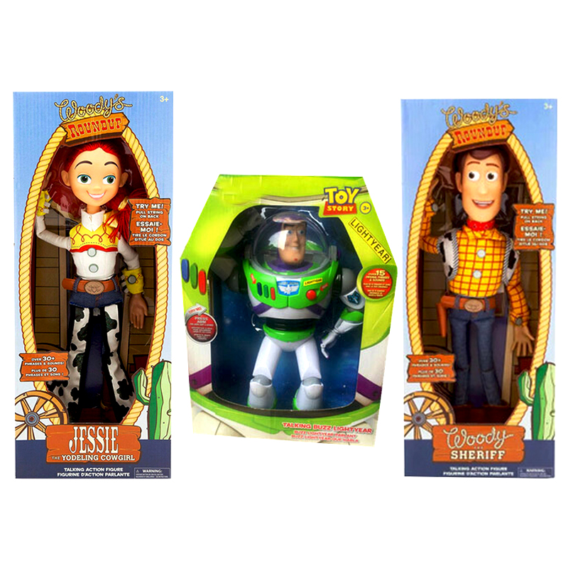 15inch Toy Story 4 Talking Woody Jessie Buzz Lightyear Cartoon Action Figure Collectible Model Toy Doll For Kids Christmas Gift