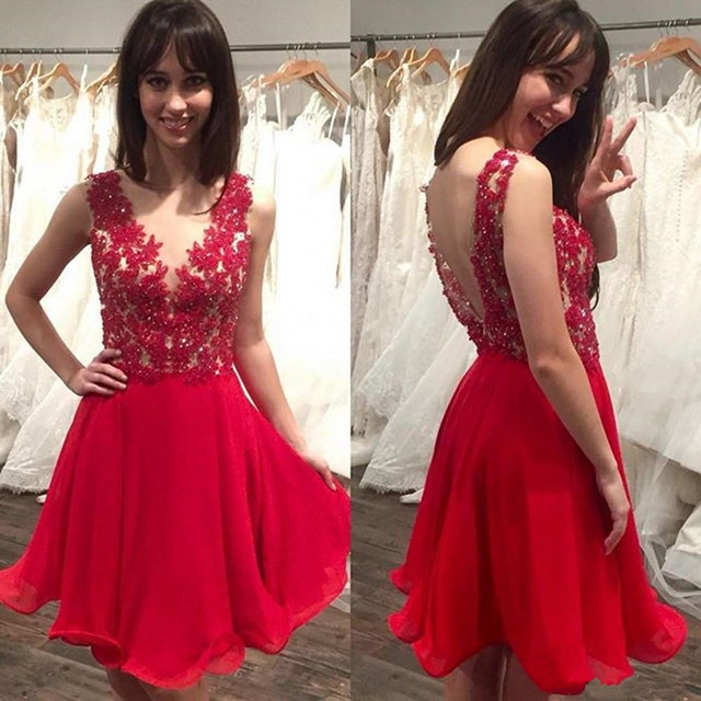 Sexy Red Beaded Lace Short Cocktail Dresses Chiffon Prom Coctail robe de Cocktail Party Dresses 2016 jurken