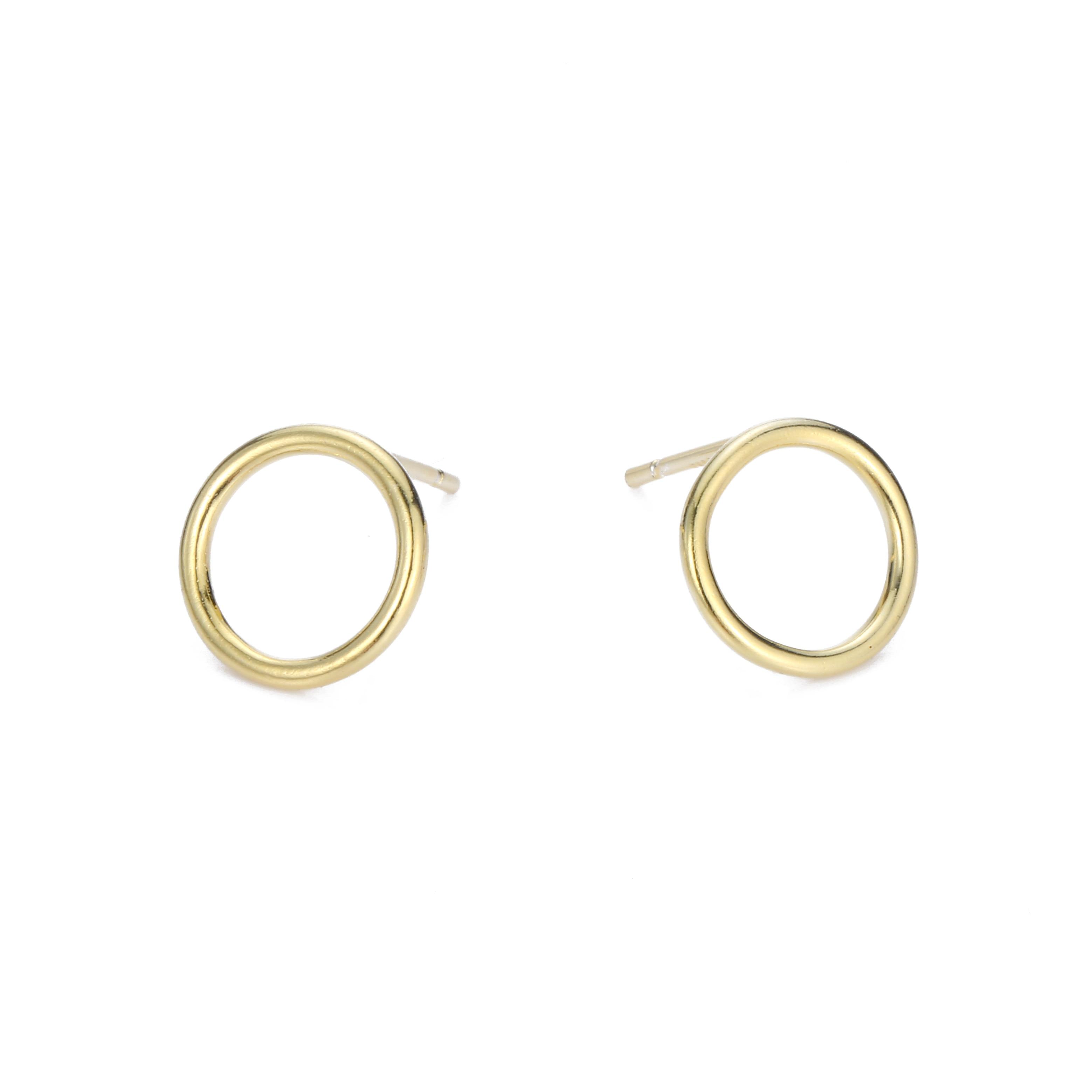 X2 Circle Grain Stud Earrings