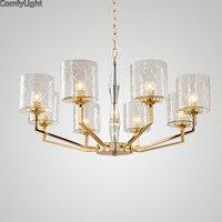 Luxury Golden Copper Glass Chandelier Lamparas Colgantes Living Room Lamp Lustres Indoor Light Modern Copper Pendants