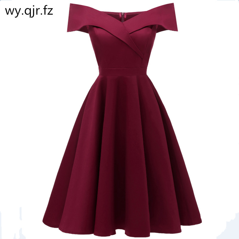 CD1635#Satin drill wine red Navy blue black short Boat Neck   Bridesmaid     dresses   wessing party   dress   gown prom wholesale women