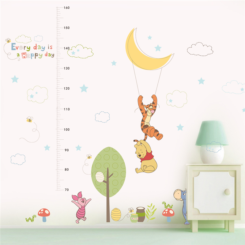Kids Height Growth Chart Wall Sticker Measurement Ruler Removable Cat Fish Whale Octopus Crab Cute Cartoon Wallpaper Art Home D/écor PVC for Kid Room Bedroom Nursery