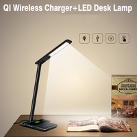 2 In 1 Touch LED Desk Lamp Table Lamp QI Wireless Charger For IPhone X Samsung